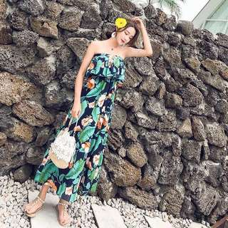 🚚 美好夏日度假平口一字領洋裝dress