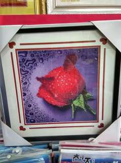 Artistic rose painting with diamond decoration