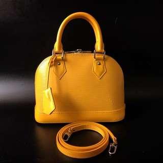 GOOD DEAL! Excellent Louis Vuitton Alma Bb Epi Citron 2013 complete with keylock, clochette, strap, original rec, & dustbag.