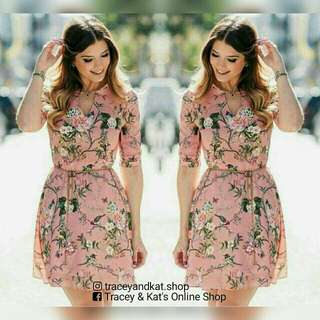 Floral Dress With Chain Belt