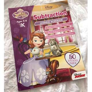 Disney Sofia the First Ages 5-6 Level K Subtraction Book