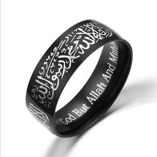 LRC Cincin Tauhid Islam Muslim Lafadz Syahadat Bahan Stainless Steel ( Black )