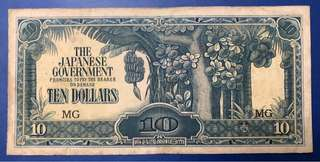 1942 $10 Japanese Government Occupation Malaya Block MG
