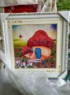 Artistic mushroom house painting