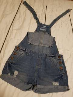 COTTON ON Distressed Denim Overall shorts (size 6)