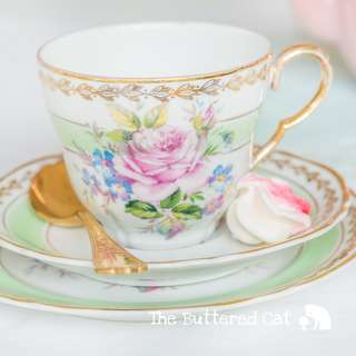 Pretty pastel green vintage English fine china trio, pink rose bouquet