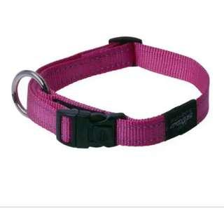 Pink Rogz reflective stitching dog collar in XL size
