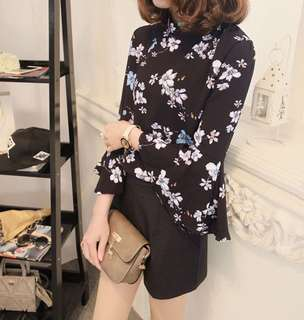 Floral Top with Flare Sleeves