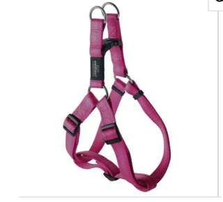 Rogz pink step in harness with reflective stitching in XL size