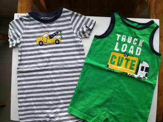 Preloved CARTER Set of 2 Construction Themed and Stripes Baby Rompers - in excellent conditions