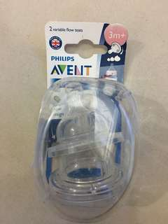 New Avent classic 2 teats 3m+ ( variable flow)