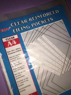 clear reinforced filing pockets