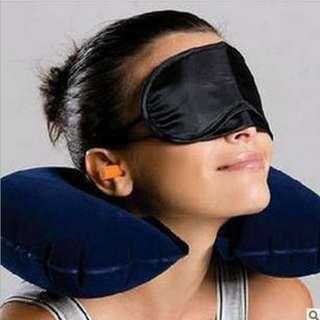 Set Bantal Leher Udara dengan Penutup Mata Telinga