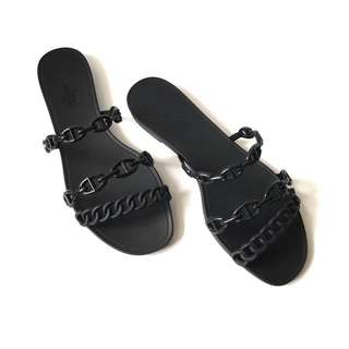 Excellent Hermes Jelly Rivage Black Sandal size 38 complete with dustbag & copy receipt.