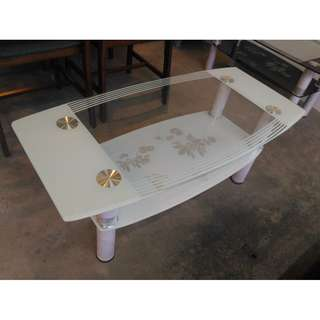 IVORY GLASS COFFEE TABLE