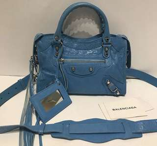 Balenciaga mini city in blue