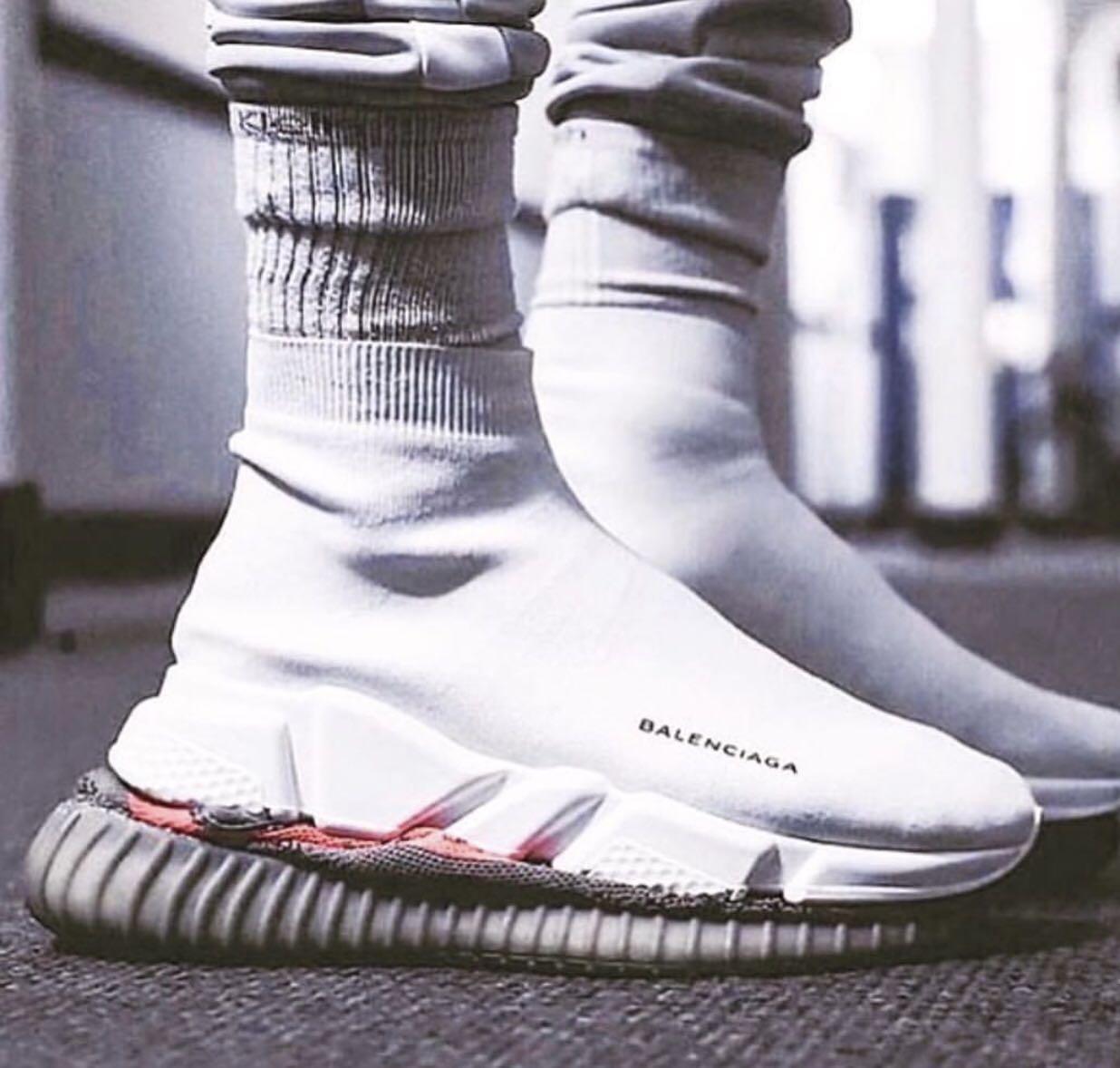 b22b90823d BN] Balenciaga Speed Trainers Triple White Sock Sneakers, Men's ...