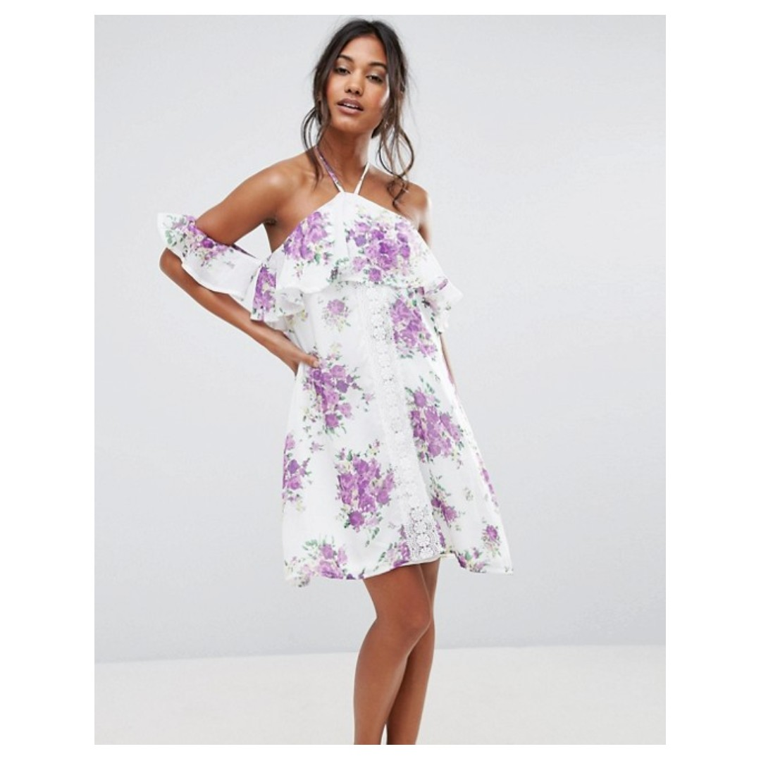 Boohoo Women's Floral Cold Shoulder Ruffle Swing Dress