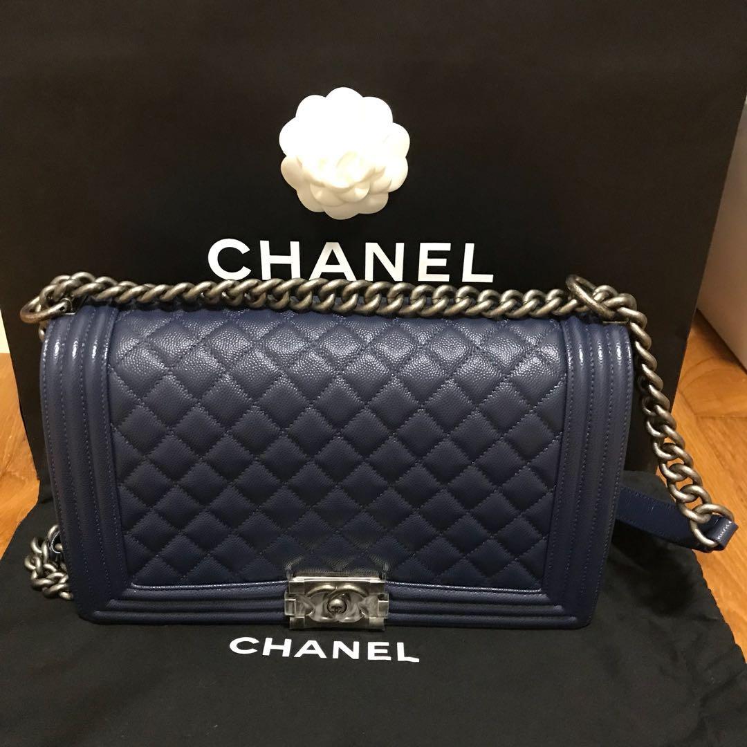 9ac9112a1d1d Brand new Chanel Boy New Medium Navy Blue, Luxury, Bags & Wallets ...