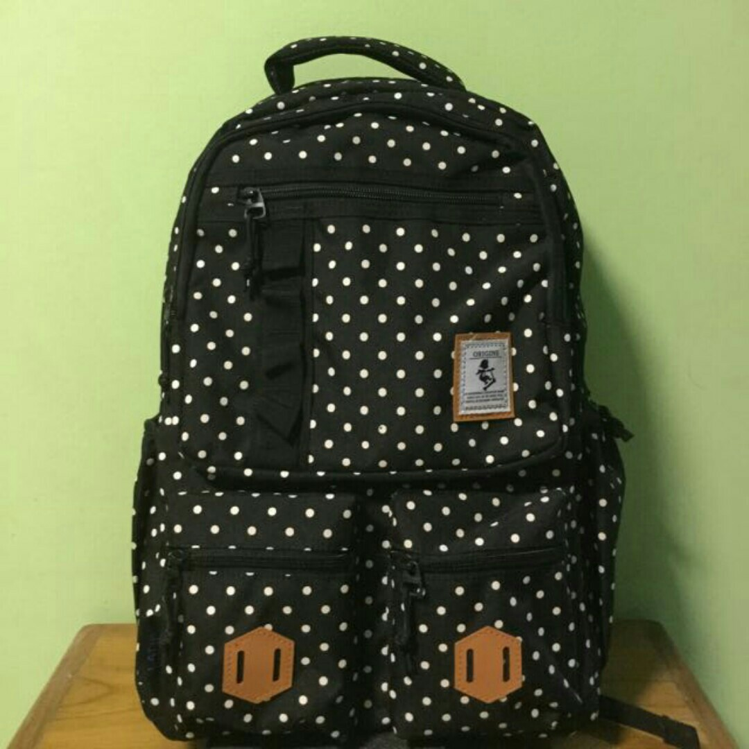 f22fb71a2afc95 BRAND NEW Latif Black Polka Dot Canvas Backpack/School Bag, Women's ...