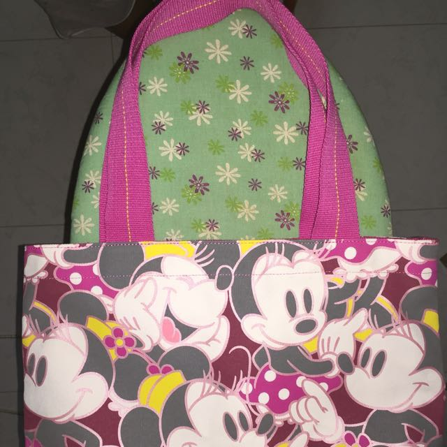 33786567f Brand New Mickey Mouse Printed Cotton Fabric Tote Bag, Women's ...