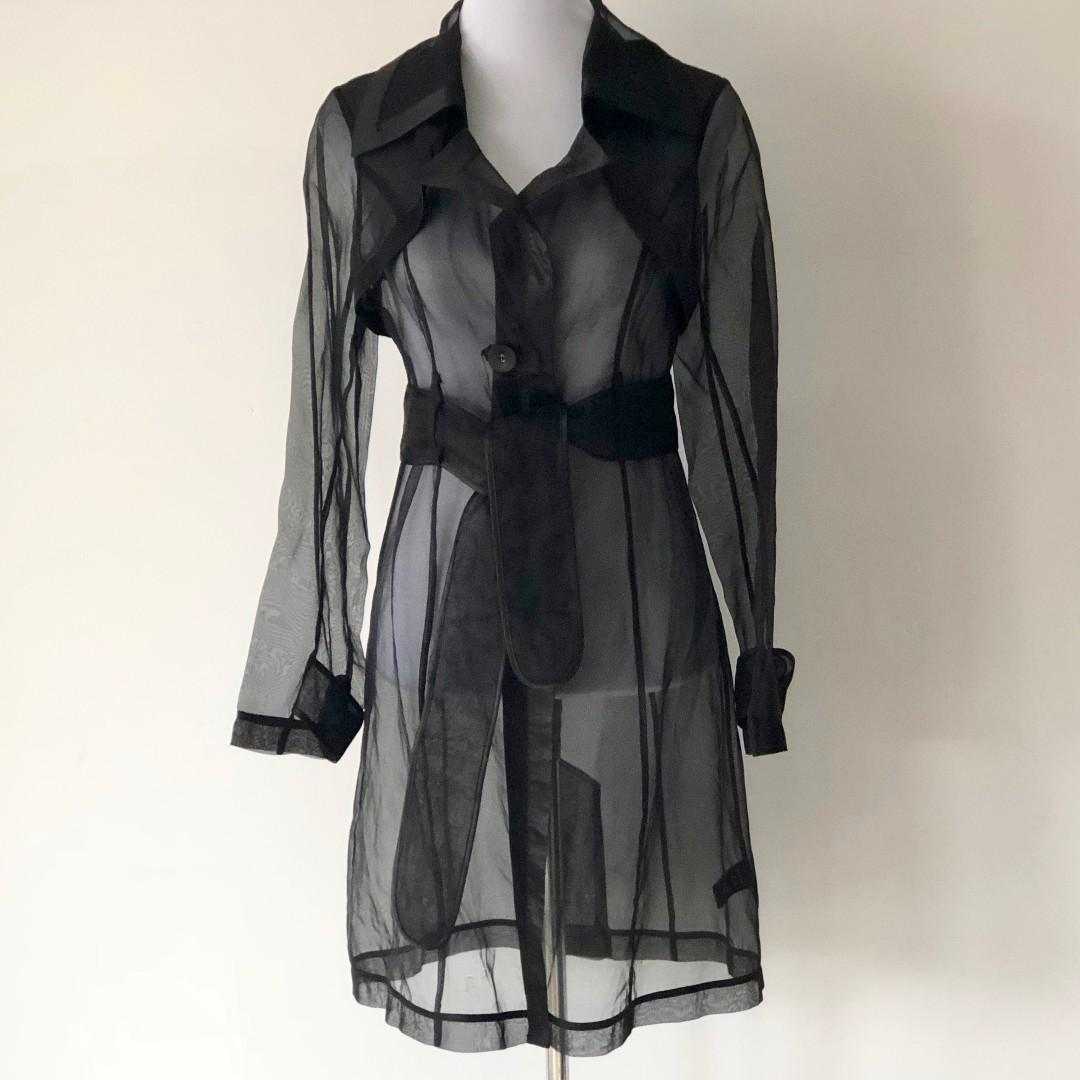 EVENTS Sheer Silk Trench Coat Black Size 8 - Brand New