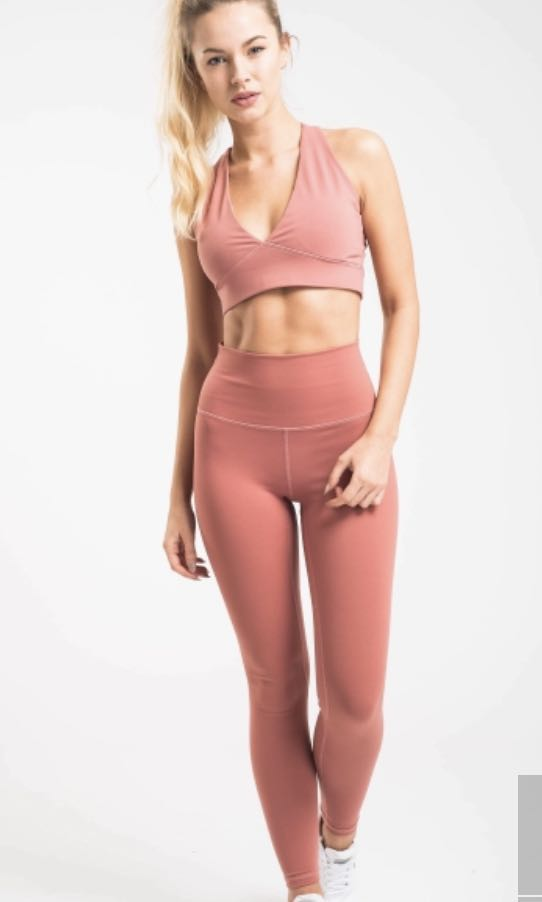 48a318fbd7 Flexxfit Luxe Leggings in Dusty Rose, Sports, Sports Apparel on Carousell