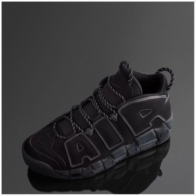 "1be82446a07 Men s Nike Air More Uptempo INCOGNITO "" TRIPLE ALL BLACK 3M"""