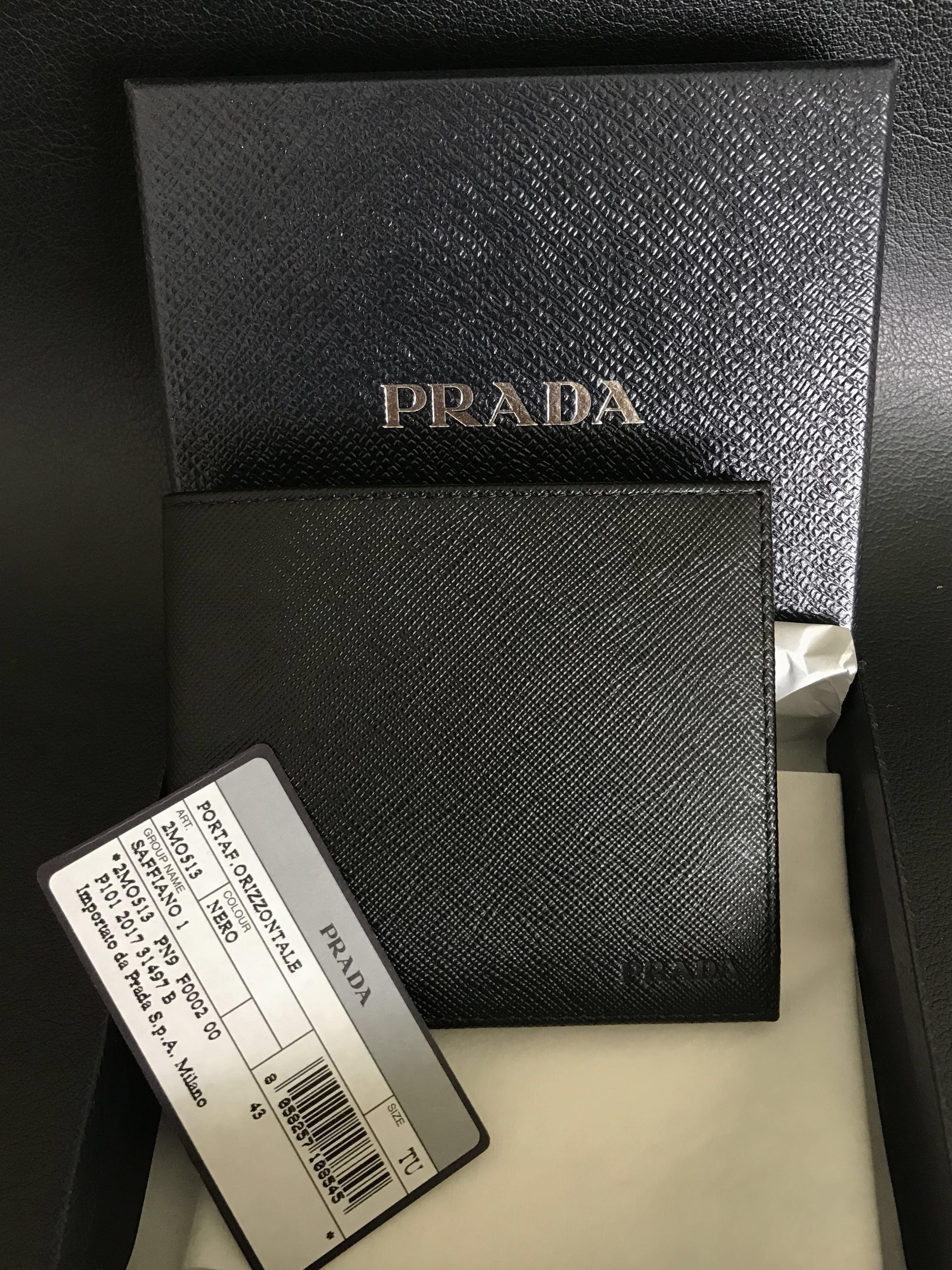 6e81ebbd96b1 Prada Saffiano Men's Wallet Embossed (Black), Men's Fashion, Bags ...