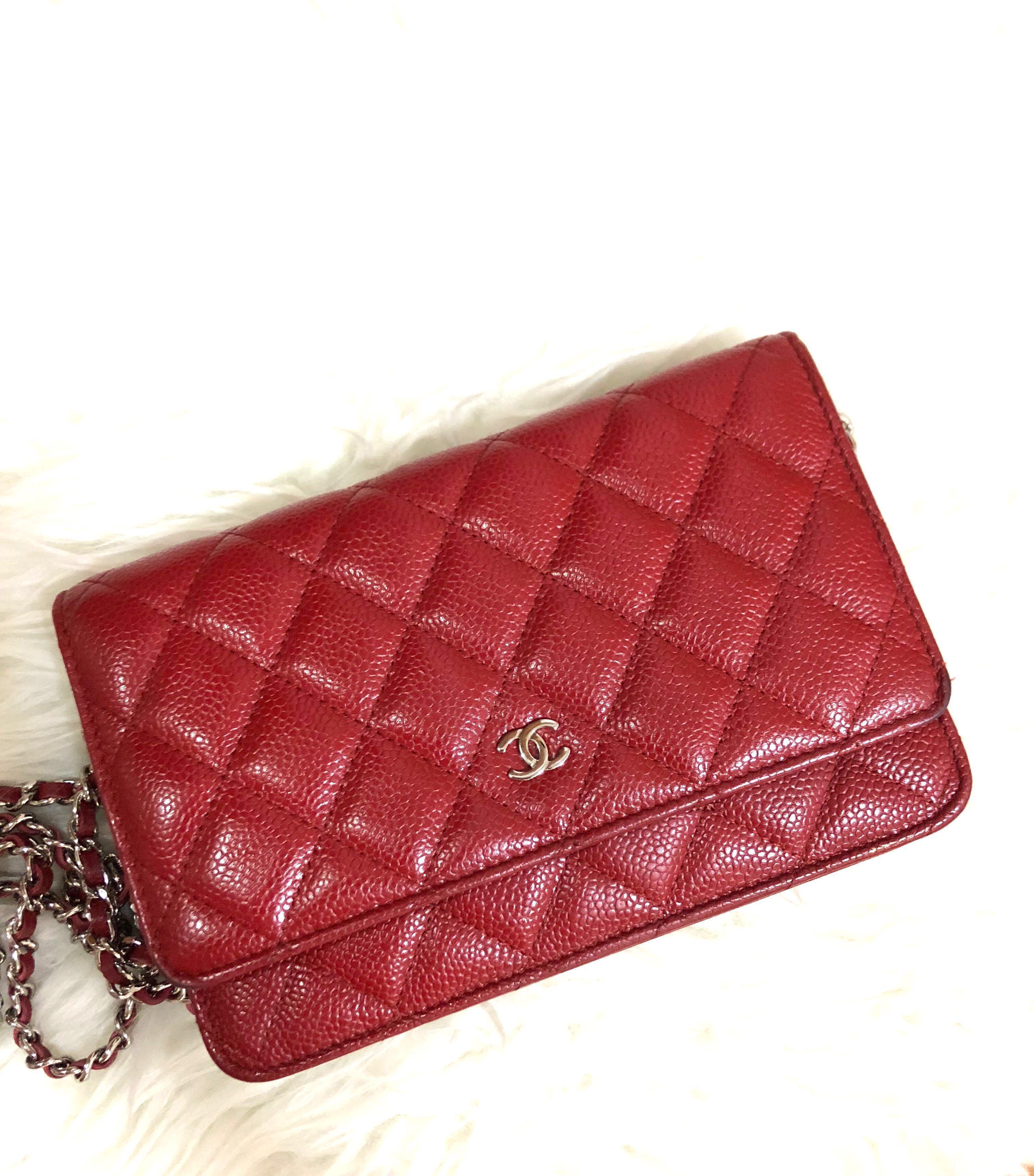 923e1513 Rare! Preloved Chanel Wallet on Chain WOC in Red Caviar Shw, Luxury ...