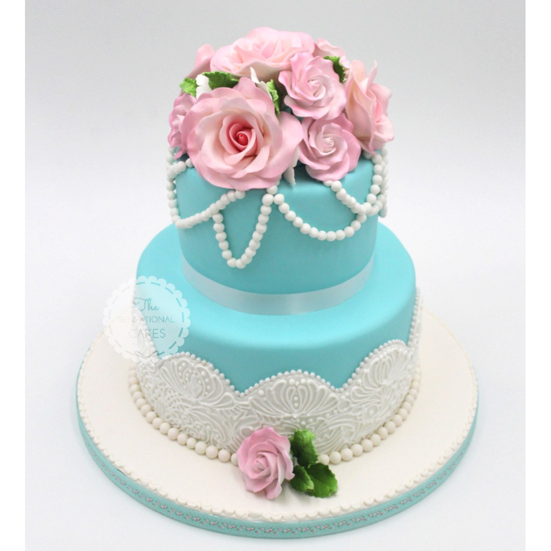 Teal Color With Pink Roses Pearls And Stencil Pattern Wedding