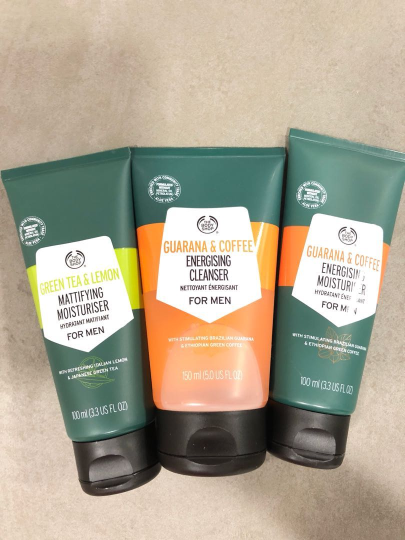 The body shop green tea and lemon mattifying moisturizer / guarana and coffee energizing cleanser & moisturizer, Health & Beauty, Men's Grooming on ...