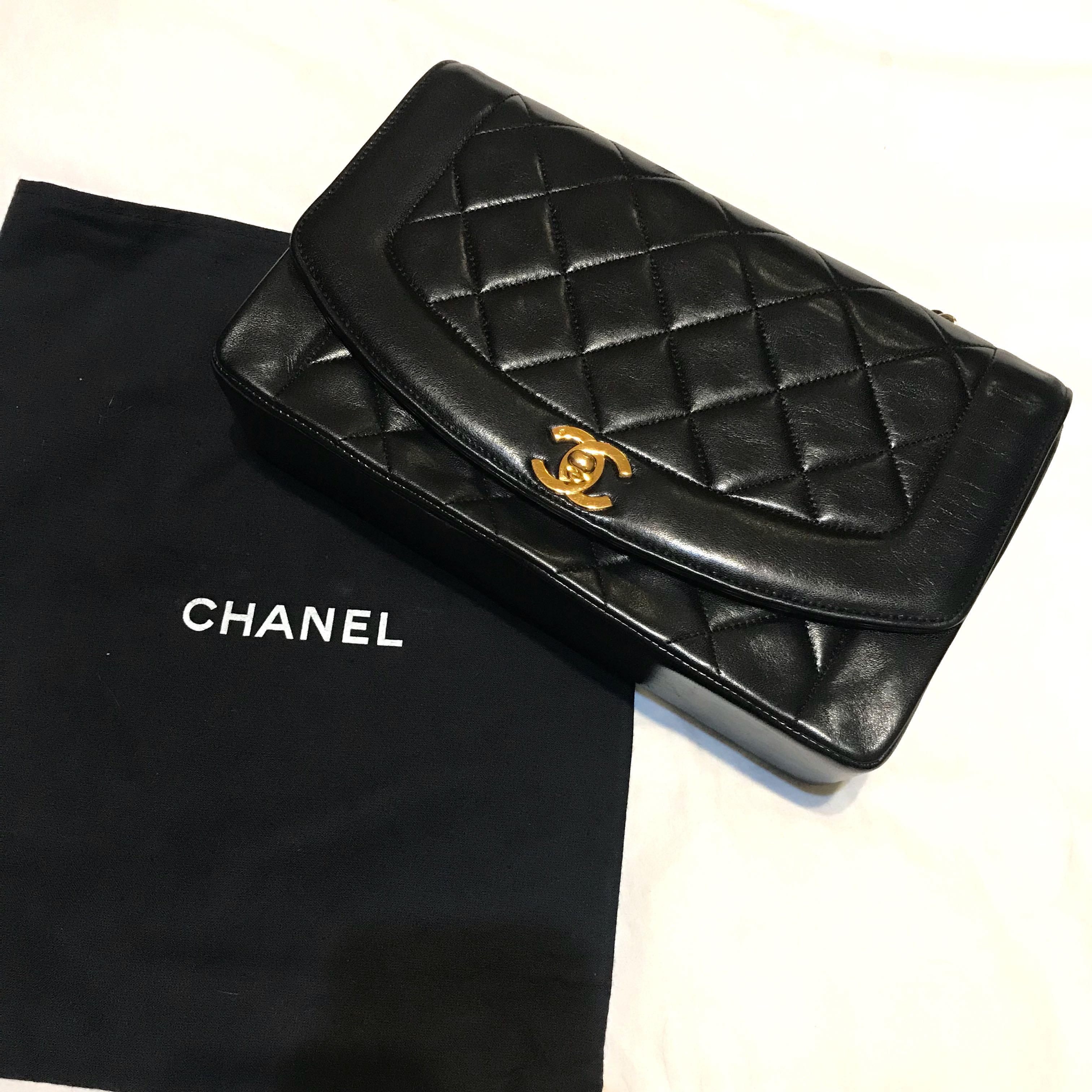 ed1013243a56 Vintage Chanel Diana Flap bag 10 inch
