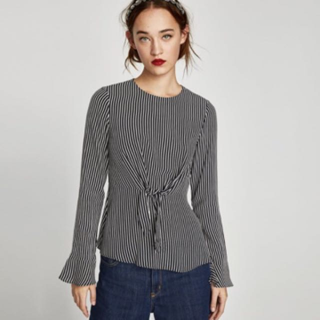 2a61b773 Zara knot top in stripe, Women's Fashion, Clothes, Tops on Carousell