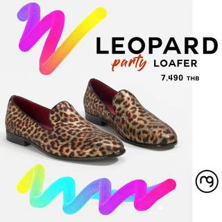 LEOPARD PRINT LOAFERS  genuine leather party wear