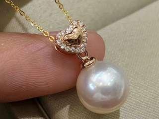 日本Akoya珍珠心形💗套裝18K金鑽石💎 耳環: 8-8.5mm 戒指: 7.5-8mm 吊墜: 8.5-9mm