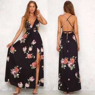 Backless Floral Slit Maxi