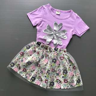 Girls Flower Top and Skirt Set