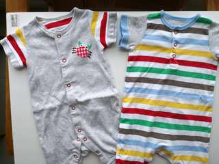 Preloved MOTHERCARE Set of 2 Colourful Stripes Summer Themed Baby Rompers - in excellent condition