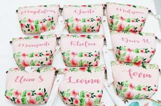CUSTOM COSMETIC POUCH pink floral