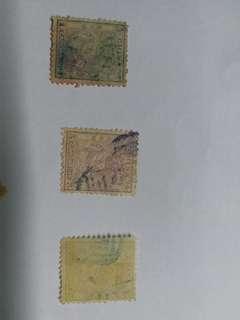 中國大清小龍旧票全套三枚保真