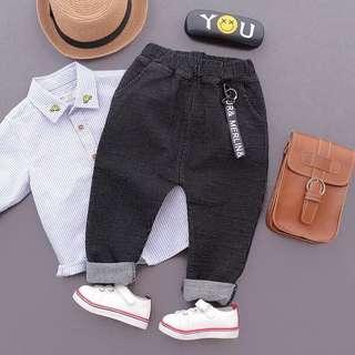 Kids Boys Black with Gray Stripe Long Pants