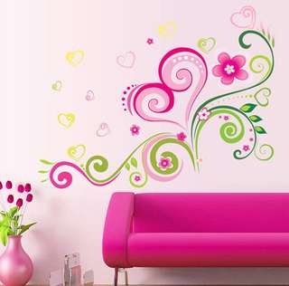 Modern Colourful Vine & Flower Wall Stickers