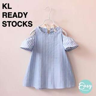 Kids Child Girl Casual Off Shoulder Light Blue and White Stripe Dress