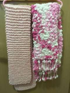 粉紅色手織頸巾 Pink Handmade Scarfs