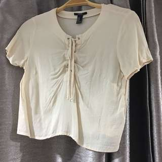 Forever 21 beige chiffon tie up top