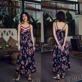 Nonsleeves Printed Long Dress