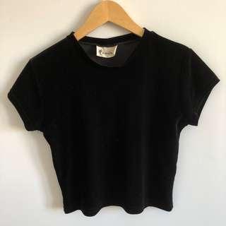 Vintage Black Velvet Mock Neck Top