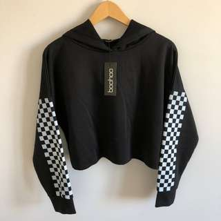 Boohoo Black and White Checkerboard Sleeve Cropped Hoodie