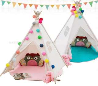 BN 1.3m / 1.6m Kids' Indian Indie Teepee Off-White Play House Canopy Tent